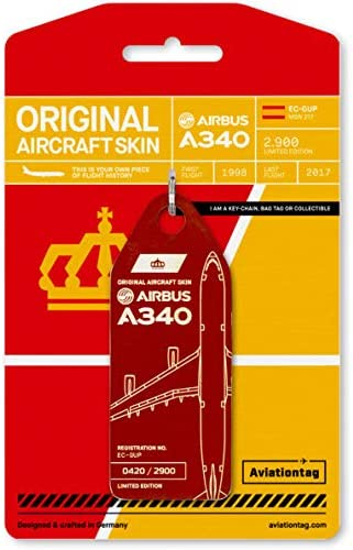 Reg #EC-GUP Dark Red Original Aircraft Skin Keychain//Luggage Tag//Etc with Lost /& Found Feature AVT052 AviationTag Airbus A340-300 Iberia Airlines