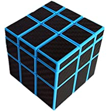 Kingcube Fangge Mirror Blue with Black Carbon Fiber stickers 3x3 Magic cube Re-brand by Shengshou Mirror Blue Speed cube