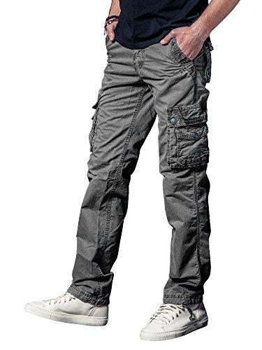 OCHENTA Men's Cotton Washed Multi Pockets Military Cargo Pant #3287 Grey Green 38