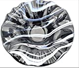 Decorative Bowl of Black White and Plum Swirls with a Ruffled Rim Handcrafted Fused Glass
