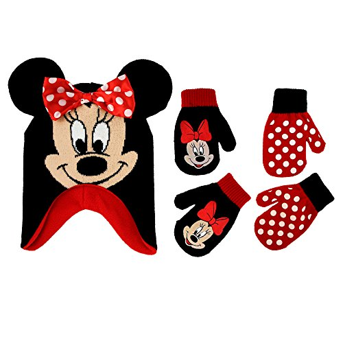 Disney Little Girls Minnie Mouse Polka Dot Hat and 2 Pairs Mittens or Gloves Cold Weather Accessory Set, Ages 2-7 (Toddler Girls Age 2-4 Hat & 2 Pair Mittens Set, Black/Red)