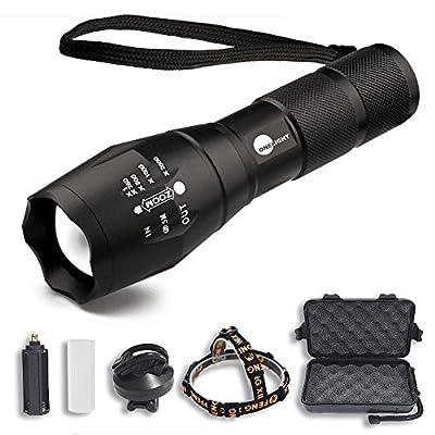 Onelight Universal Flashlight (3 in 1): Handheld Tactical Flashlight + Headlamp (Head Belt Mount Holder) + Bike Light (Bicycle Mount Holder, Gun Mount Holder)