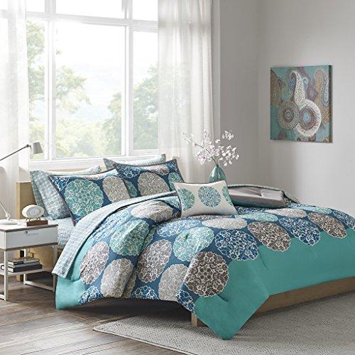Intelligent Design ID10-811 Marissa Complete Bed and Sheet Set, Queen, Blue