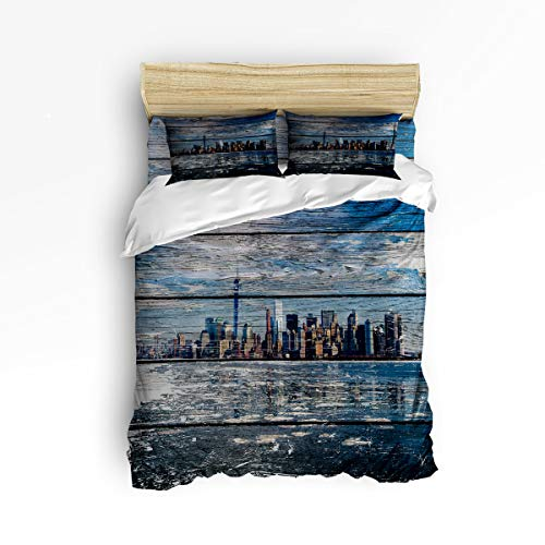 Elfantasy Full Size Chrismtas Beding Sets Duvet Cover Sets 4 Pieces,Beautiful Scenery of New York City Skyline Wood Pattern,Include 1 Comforter Cover 1 Bed Sheets 2 Pillow Cases -
