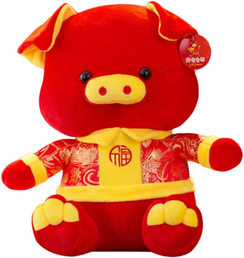 Kingwawa 2019 Chinese New Year Pig Mascot, Tang Suit,Red Cute Cotton Doll Plush,11.81 inch Animal Toy,for Good Luck and Happiness, Decoration,Gift for Kids, Adults, Spring Festival, Holiday,Birthday