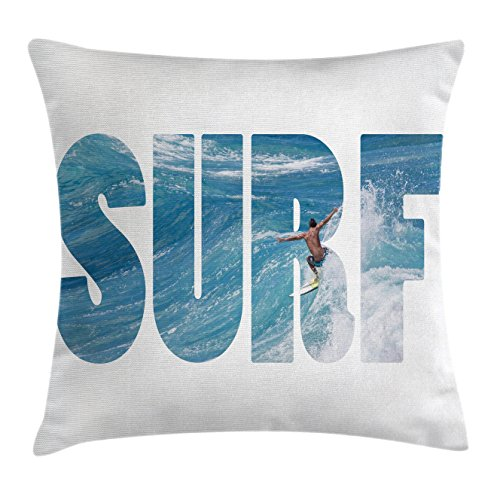 Ambesonne Surf Throw Pillow Cushion Cover, Surfer Riding Giant Majestic Ocean Wave in Hawaii Adrenalin Epic Athlete Sea Pacific, Decorative Square Accent Pillow Case, 16 X 16 Inches, Blue White by Ambesonne