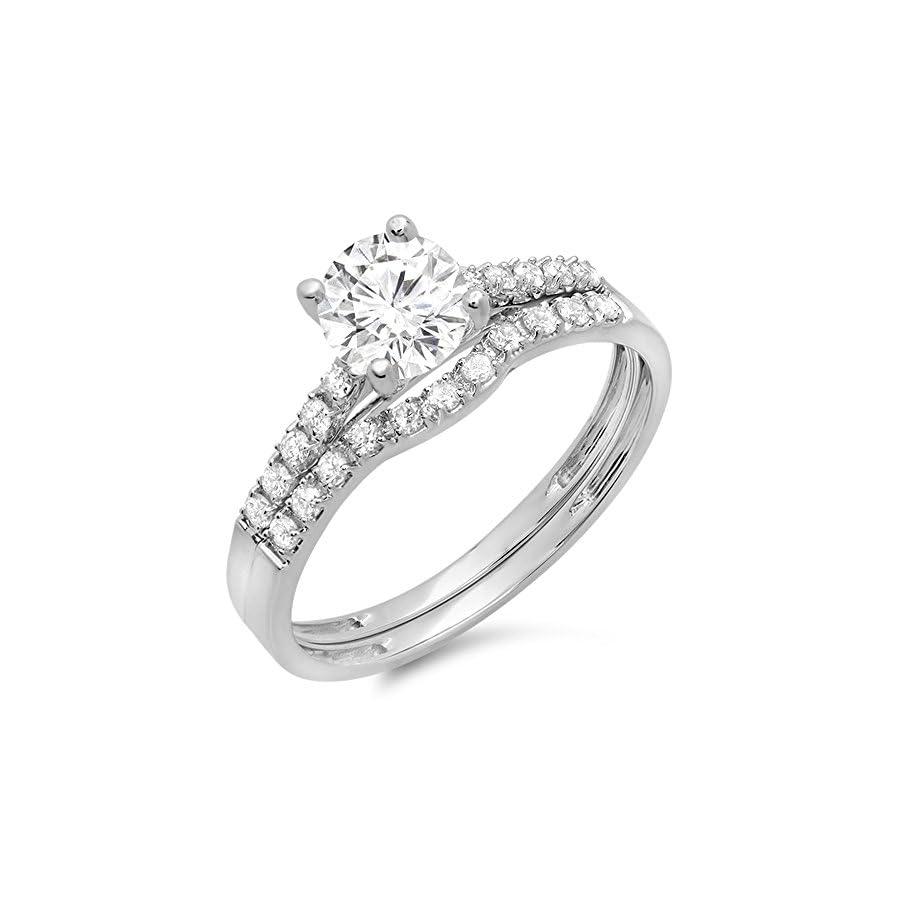 Dazzlingrock Collection 14K Gold Round Moissanite & White Diamond Ladies Bridal Engagement Ring Matching Band Wedding Sets
