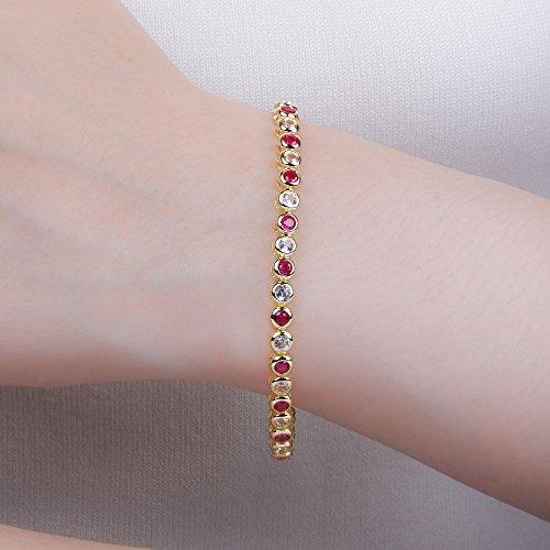 Infinity rubis et diamants Argenté Bracelet de Tennis en or (16,5 cm)