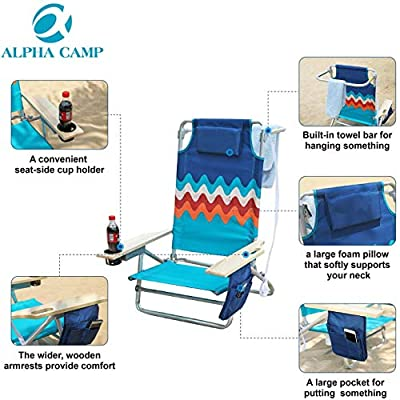 ALPHA CAMP Camping Folding Beach Chair Oversized Heavy Duty Steel Frame Support 350 LBS Collapsible Padded Arm Chair with Cup Holder Quad Lumbar Back Chair Portable for Outdoor/Indoor,Wave: Kitchen & Dining