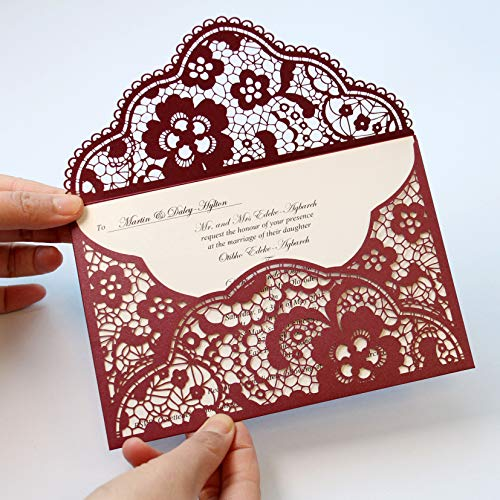 Picky Bride Burgundy Lace Wedding Invitation with Floral Design Pocket Invitation for Chinese Wedding Floral Design - Set of 50pcs