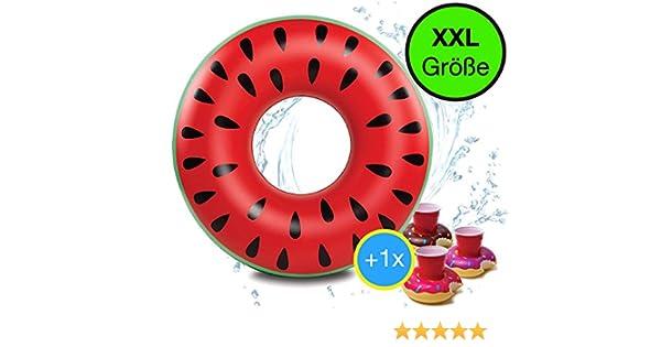 Gigante XXL 90 cm inflable donut sandía melón anillo de ...