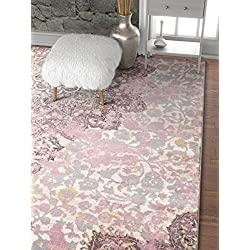 "Stella Lavender Vintage Shiraz Medallion Modern 8x11 (7'10'' x 10'6"") Area Rug Purple Distressed Oriental Carpet"