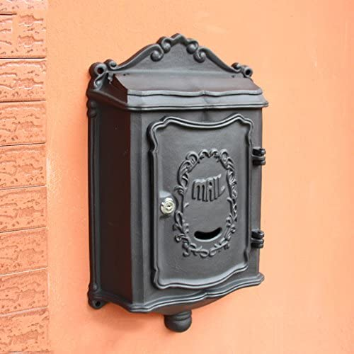 KTYX メールボックスメールボックス屋外フロントパネルキャストアルミステンレス屋外新聞ボックス壁掛けヨーロッパ郵便ポスト壁ヴィンテージ メールボックス (Color : Black)