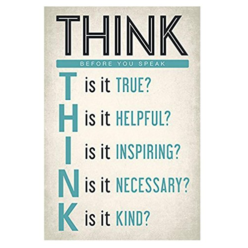 Classroom Poster ,Matoen Think Before You Speak Classroom Reading and Writing Poster 3045cm