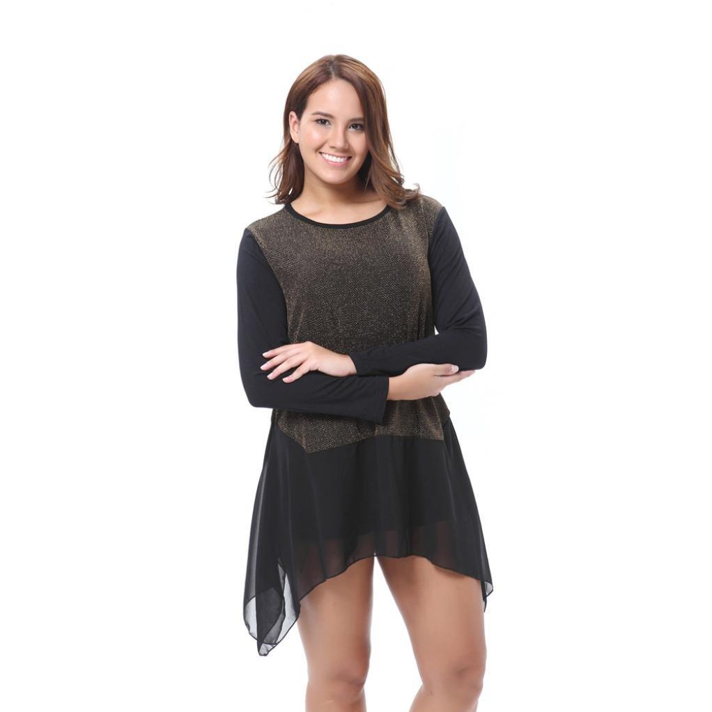 Womens Chiffon Blouse,Todaies Fashion Chiffon Blouse Long Sleeve Shirt Casual Tops Blouse Black Colors XL-5XL (XL, Black)