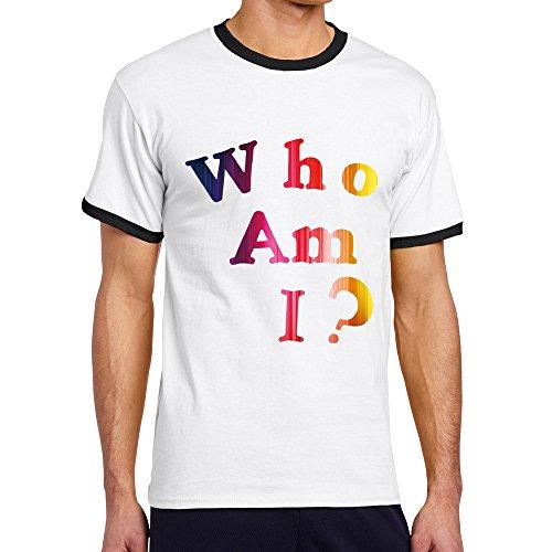 Men's Cool Who Am I Contrast Ringer T-Shirt XL Black