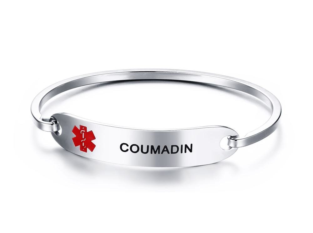 Mealguet Jewelry COUMADIN- Stainless Steel Medical Alert ID Oval Fit Bangle Bracelets for Women/Black Deep Engraving