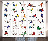 Sports Decor Collection Collection of Soccer Players League Pastime Practicing Different Poses Design Living Room Bedroom Curtain 2 Panels Set Yellow Red Blue White