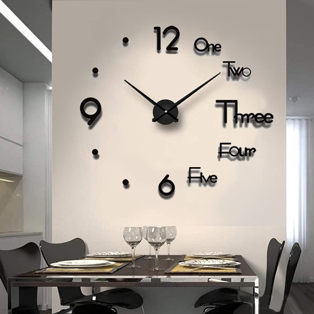 Biramba Frameless DIY Wall Clock,3D Surface Mirror Wall Clock Modern Design Large Mute Wall Watches Stickers for Living Room Bedroom Home Decorations (Black4)