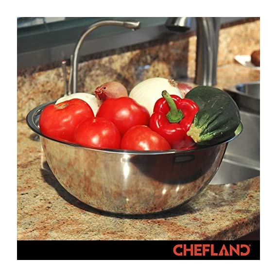 ChefLand Set of 6 Standard Weight Mixing Bowls, Stainless Steel, Mirror Finish, 0.75, 1.5, 3, 4, 5, and 8 Qt. (Mixing Bowl Set Of 6) 6 SET OF 6 ESSENTIAL SIZES - 0.75, 1.5, 3, 4, 5, and 8 Quart bowls ideal for whisking, mixing, marinating and serving. Prepare a light garnish or chop a colorful, healthy salad into the bowl of your choice and enjoy a sleek transition straight from the kitchen counter to charming serving. COMPACT STORAGE CAPABILITY - Who has space in their cupboards for loose bowls rolling around? ChefLand makes your life that bit more simple with these six, stackable, bowls that are easy to store and organize. With a lightweight, sleek and easy to use design, these bowls really do administer a professional result. STYLISH YET ROBUST - Designed with durable 18/8 stainless steel construction and finished with a reflective, mirrored exterior these bowls ensure both attractive presentation and high quality strength. A flat sturdy base and curved lip will optimize function, for a safe and sturdy mix or blend. ChefLand metal mixing bowls are rugged enough to stand up to everyday use without suffering any undue damage or wear and tear. Prepare and serve your dishes with pride, pleasure and confidence... Why not?