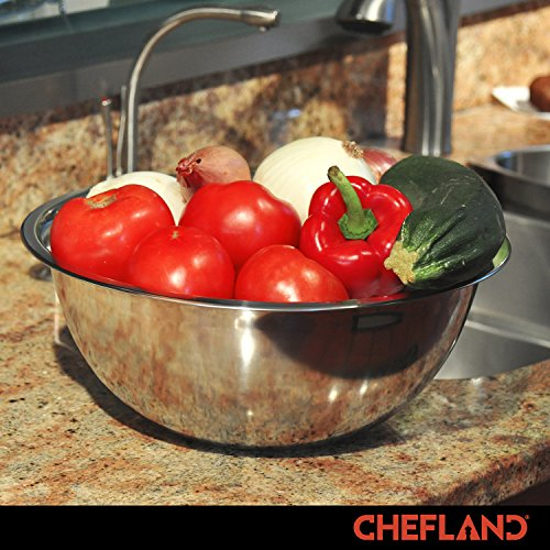 ChefLand Set of 6 Standard Weight Mixing Bowls, Stainless Steel, Mirror Finish, 0.75, 1.5, 3, 4, 5, and 8 Qt. (Mixing Bowl Set Of 6) by ChefLand (Image #5)