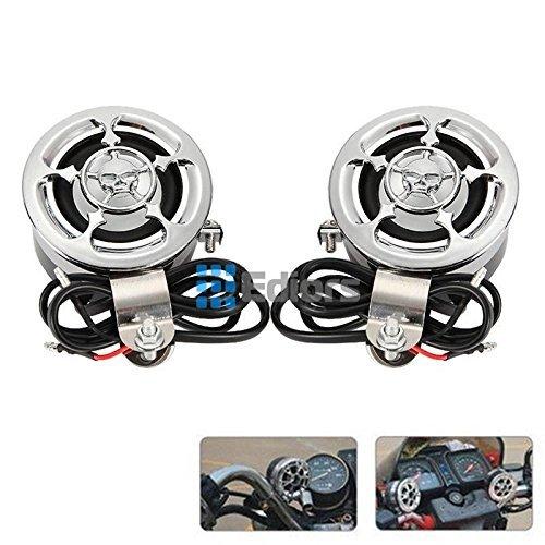 Ediors¨ Set of 2 Vintage Skull Design Mini Speakers For Car Boat Motorcycle ATV UTV Bike Audio FM Radio MP3 iPod