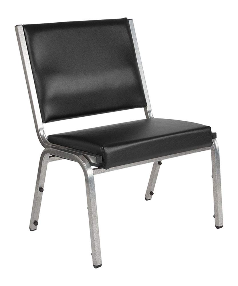 Offex Contemporary Antimicrobial Vinyl Bariatric Armless Stack Chair with Silver Vein Frame - Black