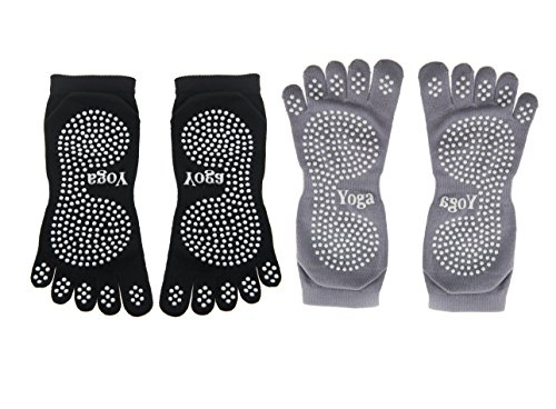 Non-Slip Yoga Socks by Ninjetics - Black and Grey Premium Anti-Odor and Antibacterial with Great Grip (Hot Cotton Marc Ware compare prices)