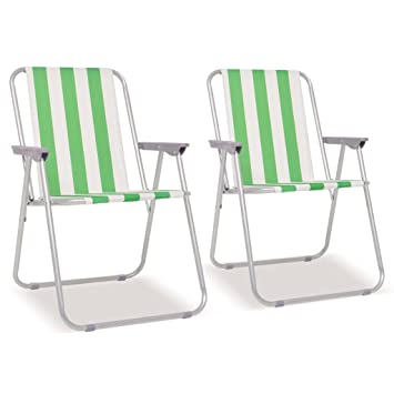 vidaXL 4X Sillas Camping Plegables Acero Verde Blanco ...