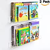 wall book display - NIUBEE Acrylic Invisible Floating Bookshelf 24 Inch,2 Pack,Kids Clear Wall Bookshelves Display Book Shelf,50% Thicker with Free Screwdriver