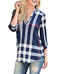 Simaier Women's Oversized Casual Tops Long Sleeve Plaid Pattern Print Shirts