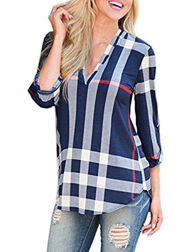 Simaier Women's Shirts V-Neck Shirt 3/4 Sleeve Tops, used for sale  Delivered anywhere in Canada