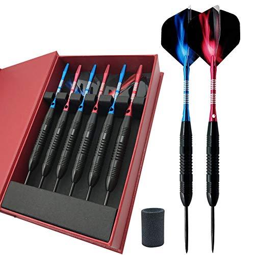 (6 Pack Darts Steel Tip Set Professional Metal Darts 22gram - Customizable Configuration Flights and Shaft | 6 Aluminum Shafts (45mm) | 6 Dart Flights (Standard/Slim) | Darts Sharpener | Darts Case)