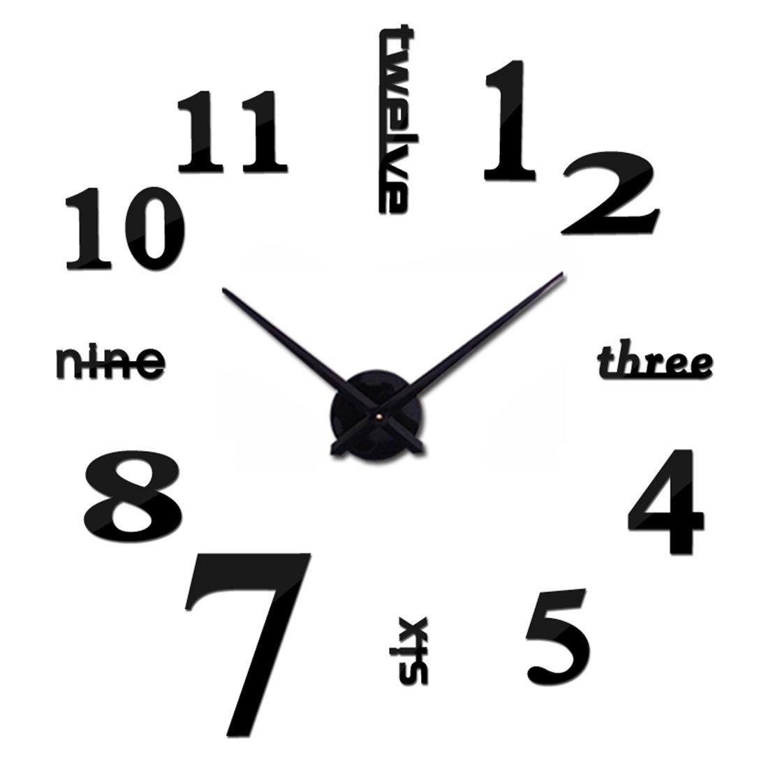 Frameless Wall Clock DIY Modern English Home Decor 3D Sticker Black Mirror Kitchen Clock
