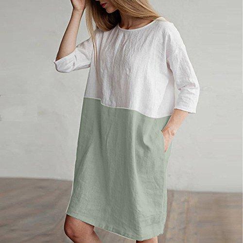 Suelto Modaworld DE Vestido con de Verde Vestir Vestido Falda de Lino Casual Bolsillos para Camisetas Mangas Mujer ❤️ 1 algodón 2 Mujer de Vestidos Ropa Casual túnica wEpcXqyA