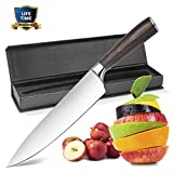 Chef's Knife, 8 inch High Carbon Stainless Steel Sharp Kitchen Knife with Sharp Blade and Ergonomic Handle