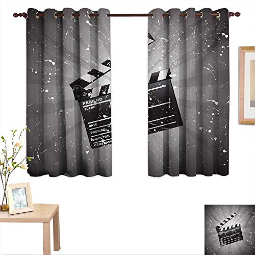 BlountDecor Movie Theater Thermal Insulating Blackout Curtain Clapper Board on Retro Backdrop with Grunge Effect Director Cut Scene 55