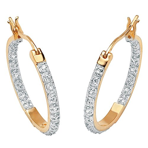 Round White Diamond Accent 18k Gold over .925 Sterling Silver Inside-Out Hoop Earrings (21mm) Inside Out Diamond Hoop