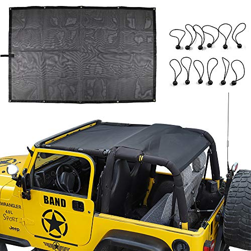 for Jeep TJ Durable Mesh Sunshade Top Cover Provides UV Sun Shade Protection For 1996-2006 Jeep Wrangler TJ ()