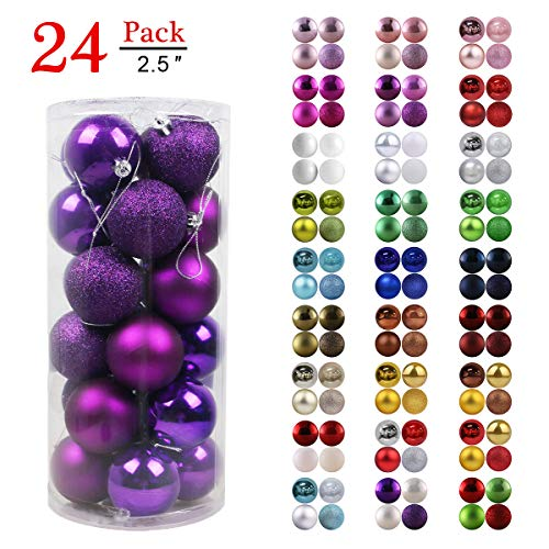 Mardi Gras Ornaments (GameXcel Christmas Balls Ornaments for Xmas Tree - Shatterproof Christmas Tree Decorations Large Hanging Ball Purple 2.5