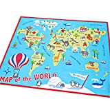 world carpet - HEBE Kids Rug World Map Educational Children's Play Mat Learning Carpet for Playroom Bedroom Non Skid Washable Nursery Crawling Rug 3.3'x4.9' Extra Large