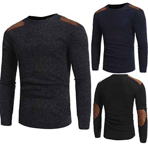 Mens Shirt,Haoricu 2017 Clearance Man's Fashion Round Neck Patchwork Slim Fit Sweaters Casual Boys Tops Blouse