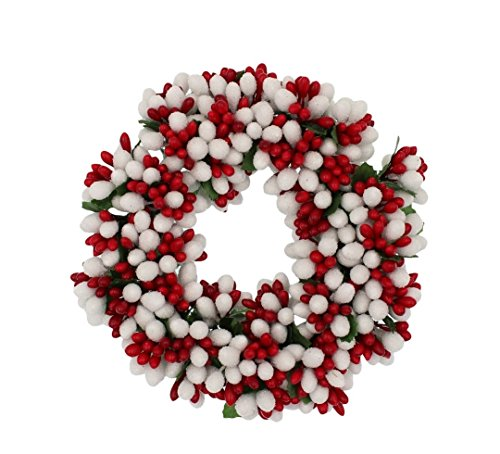 Berry Taper Candle Ring - 6.5-inch Beaded Berry Wreath Candlering Candle Ring Christmas Red White