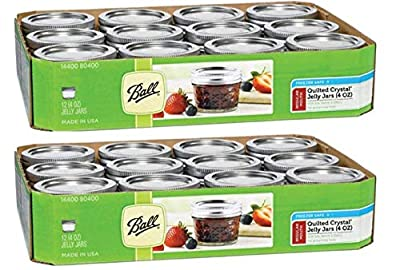 Ball 4-Ounce Quilted Crystal Jelly Jars with Lids and Bands, Set of 12 - 2 Pack (Total 24 Jars)