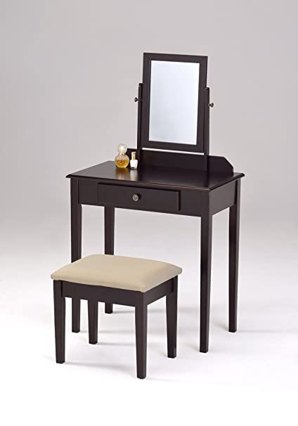 Espresso Finish Contemporary Bedroom Vanity Set with Stool