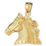 CleverEve 14K Yellow Gold Pendant Horse Head 3.7 Grams