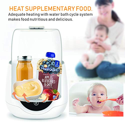 Baby Bottle Warmer, Bottle Thermostat 5 in 1, Intelligent Milk or Real-time Temperature Fast
