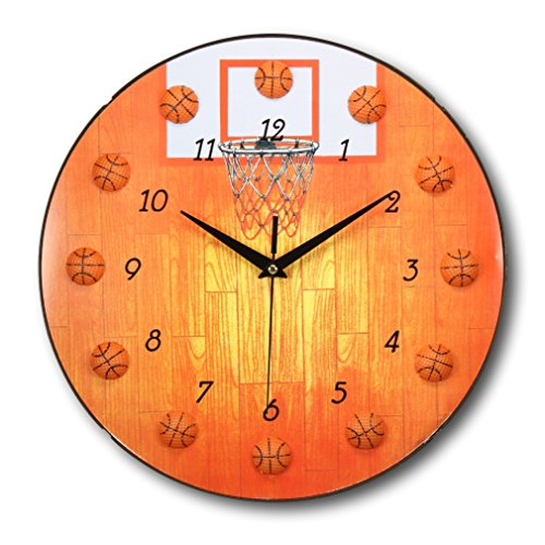 13 Inch Basketball Clock - Sports Themed Boys - Sports Wall Clock