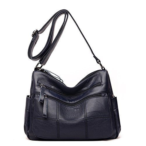 Shoulder Bags Pocket For Multi blue Sanxiner Leather Purse A Crossbody Medium Women Bag q8Uwx1Fw0