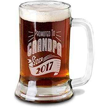 Amazon Com Promoted To Grandpa Since 2016 16 Oz Beer Mug